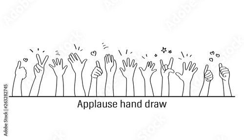 Applause hand draw, vector illustration on white background Wallpaper Mural