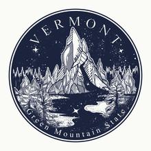Vermont. Tattoo And T-shirt De...