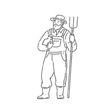 Farmer Man With Chicken And Fork In Hand. Line Art Style Character Vector Black White Isolated Illustration.