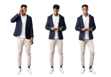 Set Of Handsome African American Man Wearing A Jacket Talking To Mobile