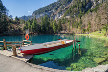 A Boat On Blue Lake, Blausee, ...