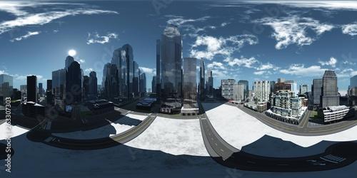 Panorama metropolis, Environment map. HDRI map. Equirectangular projection. Spherical panorama , 3D rendering - 263307303
