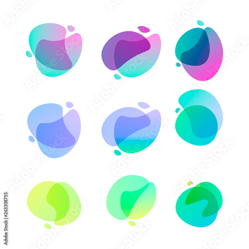 Fototapeta Bright abstract shapes. Set of nine gradient colored forms. Flowing liquid stains. Watercolor stains. Easy to edit vector element of design for banners, logo, etc obraz na płótnie