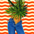 canvas print picture Contemporary minimal art collage. Girl in jeans .Vacation vibes. Zine culture concept