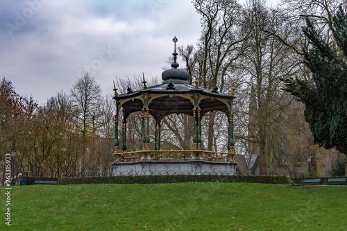 Photo  Picturesque kiosk in Koningin Astridpark (Park of the Queen Astrid) in Bruges, Belgium