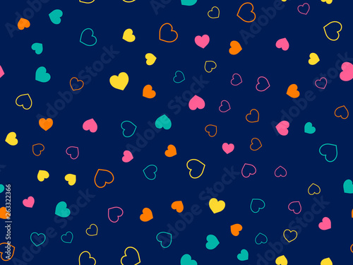 obraz PCV Cute hearts seamless pattern. Small hearts. Colorful pattern with small hearts on blue background. Template for greeting card Happy Valentines day, textile design, love concept. Vector illustration.