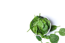 Fresh Spinach Leaves In White ...