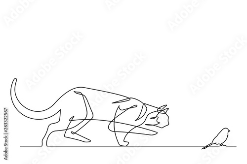 Cat Stalking Bird One Line Vector Art Illustration