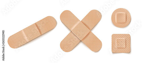 Photo Vector set illustrations of band aids