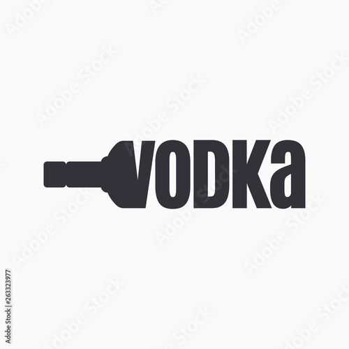 Vodka bottle logo. Lettering sign of vodka Tableau sur Toile