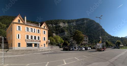 Fototapety, obrazy: Street scene in the Swiss village of Noiraigue, Romandie