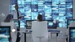 4K Security officer communicating with staff in observation control room