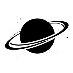Planet Saturn with planetary ring system flat icon. Vector illustration on white background
