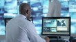 4K Surveillance officer communicating via earpiece in control room