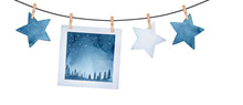 Decorative Garland With Starry Night Picture Illustration And Fancy Stars On Wooden Clothes Pins. Handdrawn Watercolour Graphic Painting On White Backdrop, Cutout Clip Art Element For Creative Design.