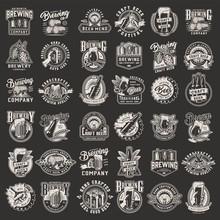 Vintage Monochrome Brewery Prints Set