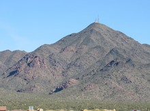 View Of The Radio And Cell Phone Towers On The Summit Of Thompson Peak In The McDowell Mountain Range Near Phoenix, Arizona
