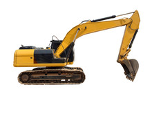 Backhoes On A Separate White Background.