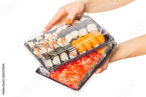 Sushi set hold hands Canvas Print