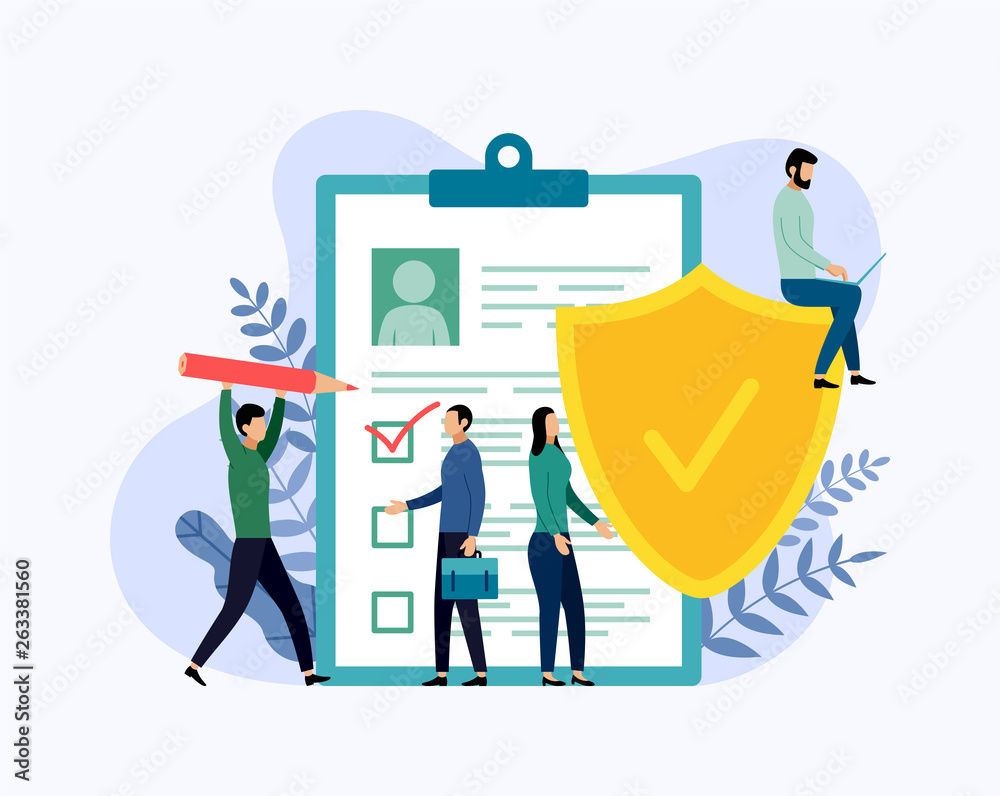 Fototapeta Insurance policy concept, data security, business concept vector illustration