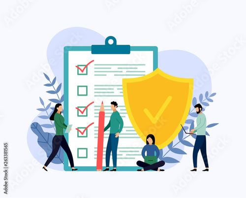 Fotografia Insurance policy concept, data security, business concept vector illustration