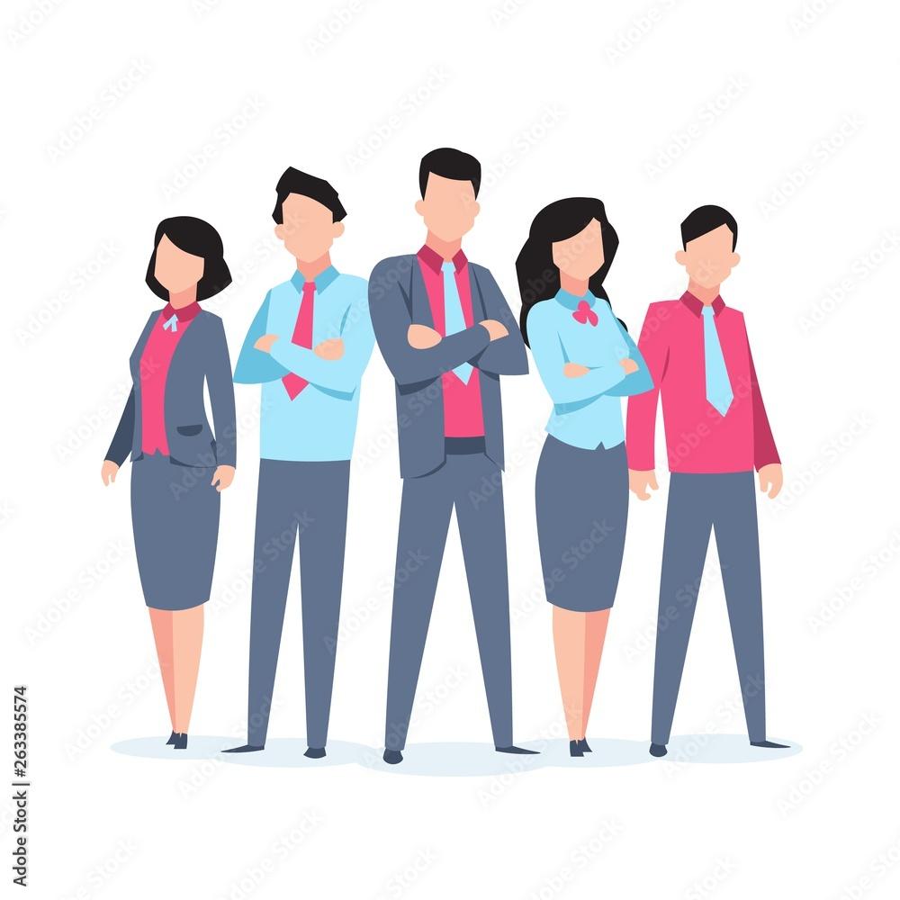 Fototapeta Business characters team work. Office people corporate employee cartoon teamwork communication. Flat business team vector illustration