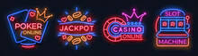Neon Casino Banners. Slot Machine Playing Cards Lucky Roulette Gambling Signs, Online Poker Game Bet. Vector Modern Neon Casino Logo Set