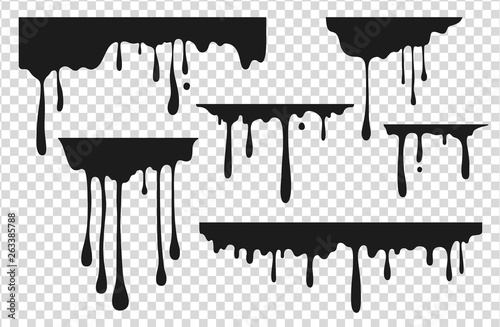 Fototapety, obrazy: Black dripping stain. Liquid paint drop, oil ink splatter melted chocolate caramel splash black graffiti stain. Vector dripping ink paint illustration