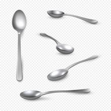 Realistic Metal Spoon. 3D Silv...