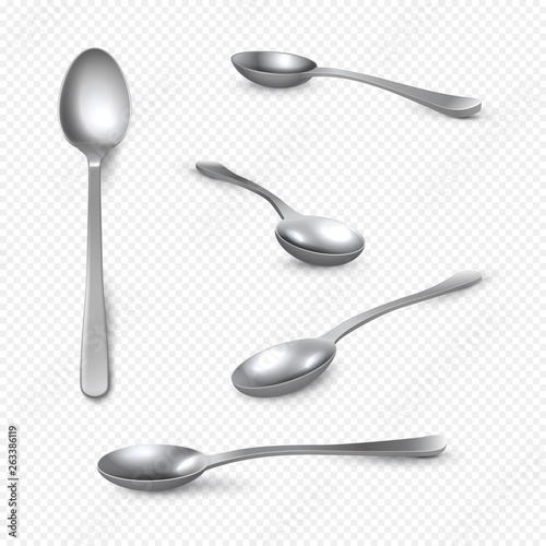 Valokuva Realistic metal spoon