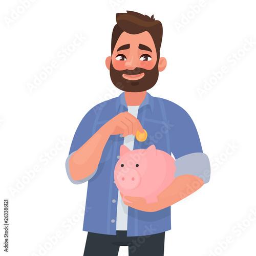 Fototapeta Man holds a piggy bank. Concept of saving finances. Vector illustration obraz