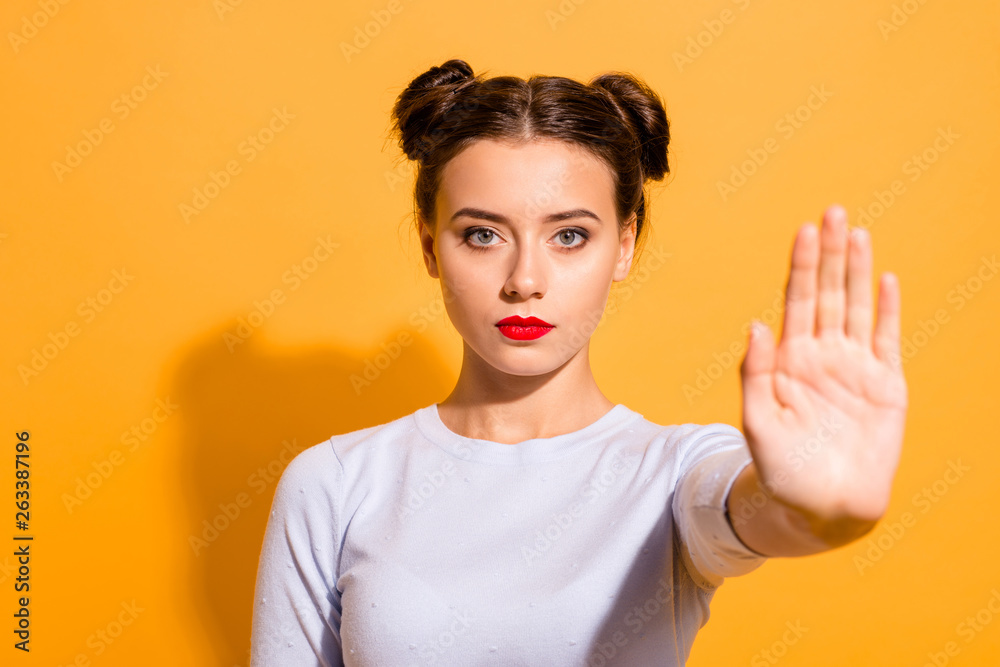 Fototapety, obrazy: Close-up portrait of her she nice cute attractive lovely winsome candid decisive teen girl showing stop sign palm refuse offer isolated over bright vivid shine yellow background