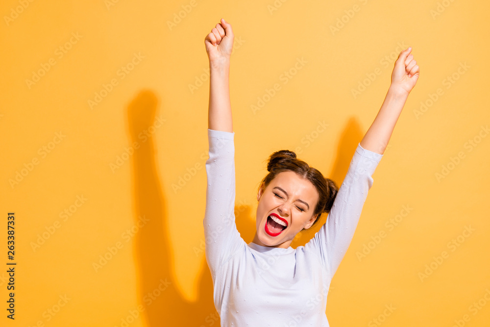 Fototapety, obrazy: Portrait of her she nice-looking attractive lovely winsome sweet cheerful cheery optimistic girl having fun rejoicing raising hands up party isolated on bright vivid shine yellow background