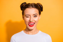 Close Up Photo Of Charming Flirty Adorable Lady On Holiday Licking Her Lips Pomade To Attract Boy Men Student Have Relationships Isolated Over Vivid Background Dressed In White Cotton Jumper