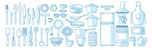 Big Vector Set Of Kitchen Utensils In A Linear Style. A Set Of Objects For The Kitchen. Isolated Elements Of Cutlery, Kitchen Appliances, Dishes.