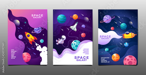 set of banner templates. universe. space. space galaxy, design. vector illustration - 263392160