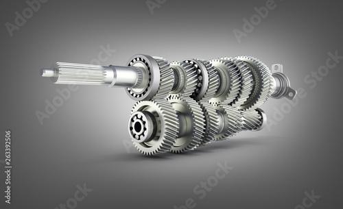 Fényképezés  Automotive transmission gearbox Gears inside on black gradient background 3d ren