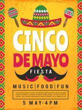Poster Of Mexican Fiesta. Design Template Of Party Invitation. Vector Mexican Fiesta, Cinco De Mayo Card Illustration