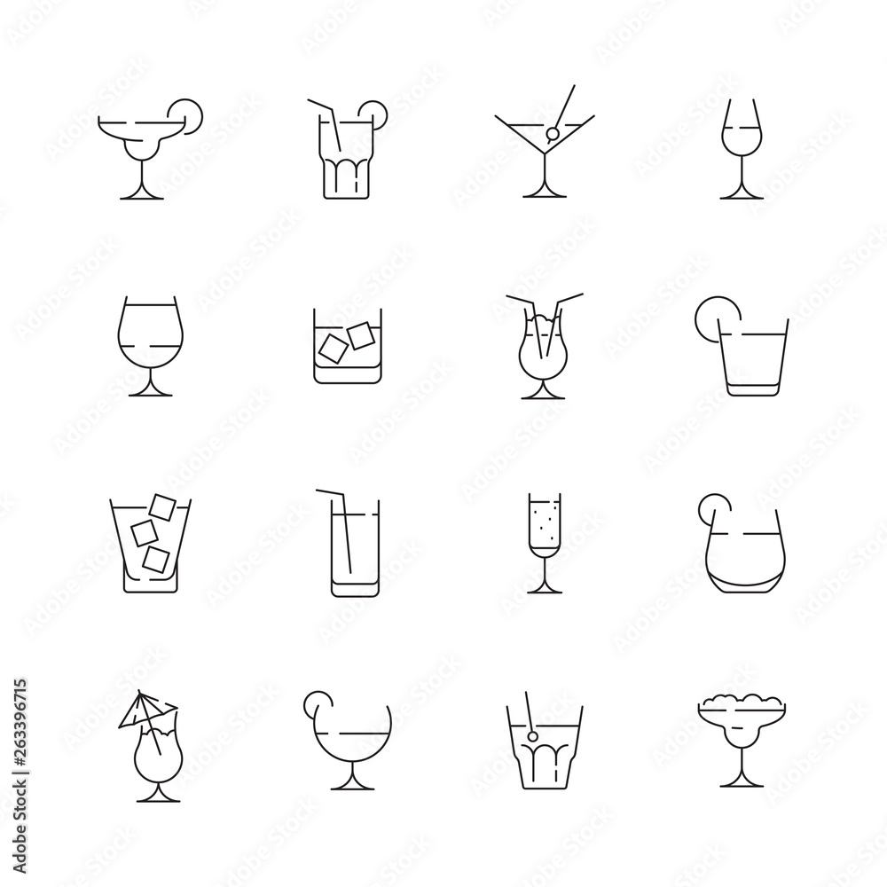 Fototapeta Glass for drink icons. Cocktail and alcoholic drink for party liquid martini with ice bar pictogram vector collection. Illustration of alcohol drink, martini beverage and whiskey