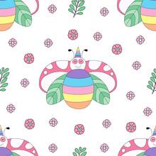 Seamless Pattern Cute Ladybug Cartoon Hand Drawn Style.vector And Illustration