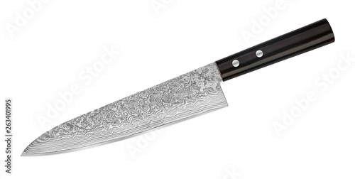 Fotografia Japanese Damascus steel knife on white background