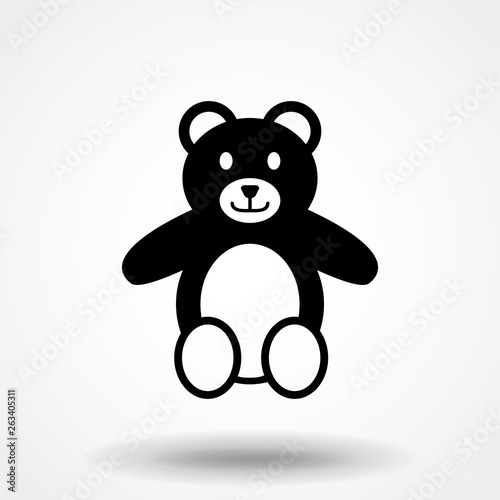 The icon is a Teddy bear. Simple vector illustration. #263405311