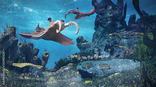Obraz na plátně  creatures of the Cambrian period, underwater scene with Anomalocaris, Opabinia,