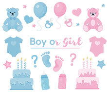 Gender Reveal Clipart. Blue An...