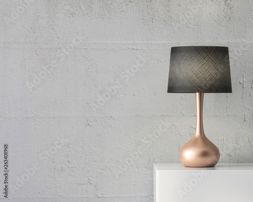 Tela Stylish table lamp mockup with black shade and gold stand