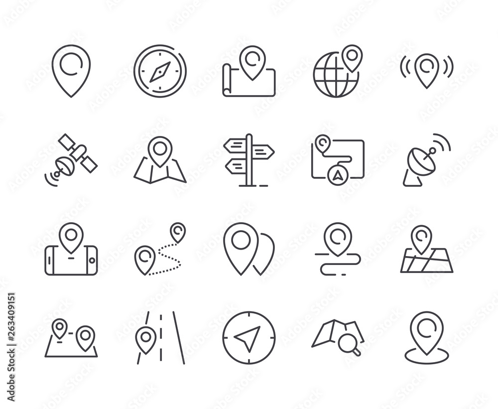 Fototapeta Simple Set of Map & Location Line Icon. Editable Stroke