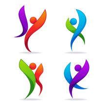 Vector Collection Of Abstract Sportive People In Dancing Poses, For Your Logo And Emblem