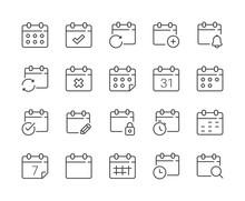Simple Set Of Calendar Line Icon. Editable Stroke