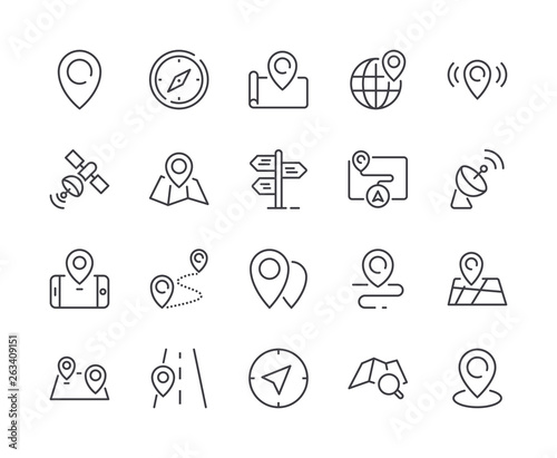 Simple Set of Map & Location Line Icon. Editable Stroke