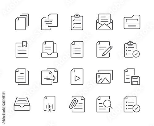 Fototapeta Simple Set of Document Line Icon. Editable Stroke obraz